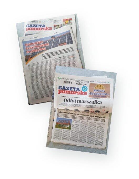 """Fotografia gazety  """"Galeria Pomorska"""" z artykułem na temat AM Group  Solar Fotowoltaika Bydgoszcz"""