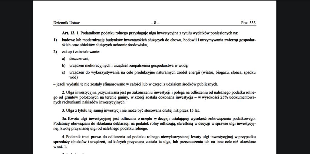 Rozporządzenie dofinansowanie fotowoltaika dla rolników
